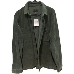 Green Forever 21 Corduroy Button-up Shirt Jacket L